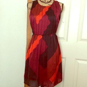 EUC Jennifer Lopez Red black grey fit flare dress